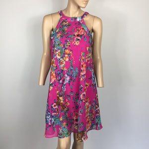 Betsy Johnson Pink Floral High Neck Dress